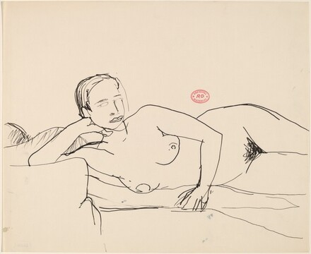 Untitled [nude resting on her side with right hand supporting head]