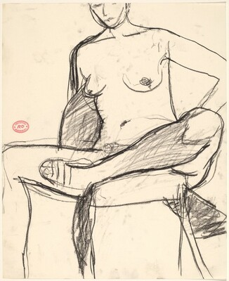 Untitled [seated nude wearing a sandal and pulling her foot into a chair]