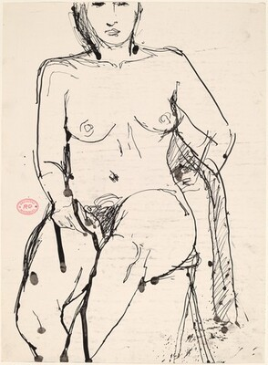 Untitled [seated nude with her left arm swung behind]
