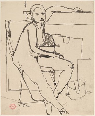 Untitled [seated nude placing her left arm along a high ledge]