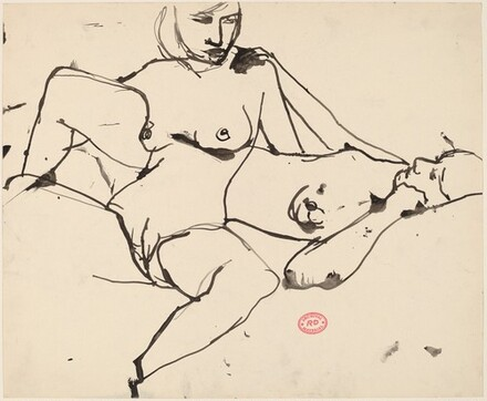 Untitled [seated female nude intertwined with a reclining nude]