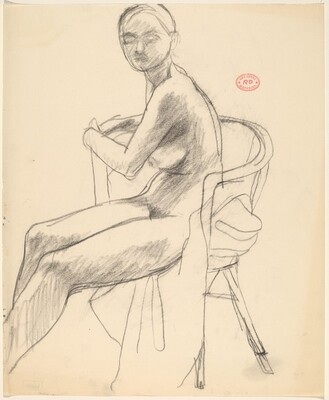 Untitled [seated female nude turning toward viewer]