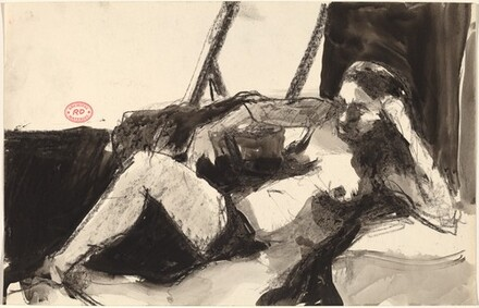 Untitled [reclining nude leaning on her left elbow]