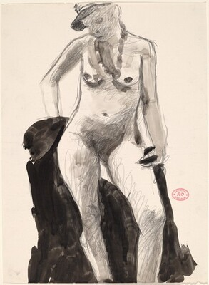 Untitled [standing female nude in cap looking down]