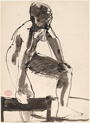 Untitled [female nude holding chair as support and stepping up]