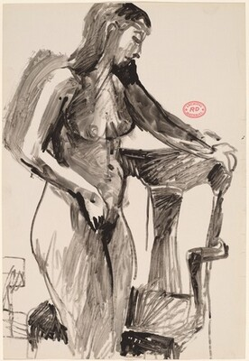 Untitled [standing nude holding a chair back with her left hand]
