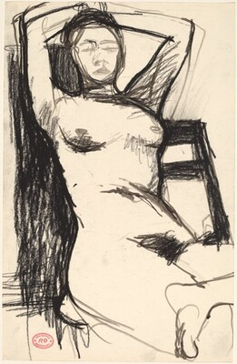 Untitled [seated nude leaning back with hands behind her head]