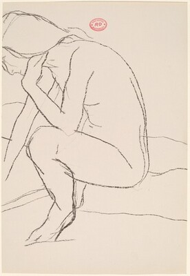 Untitled [side view of a seated nude with her left hand at her hair]