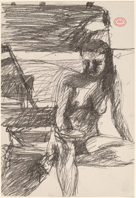 Untitled [seated female nude holding an object]
