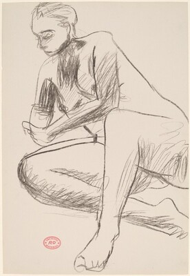 Untitled [seated model gripping her wrist with her left hand]