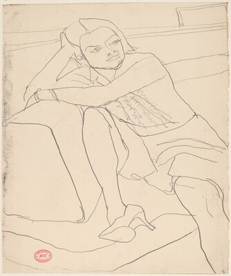 Untitled [seated woman wearing high-heeled shoe]