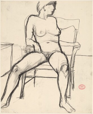 Untitled [nude seated in an armchair turning to her left]