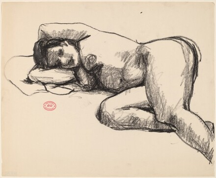 Untitled [nude lying on her right side with arms behind head]