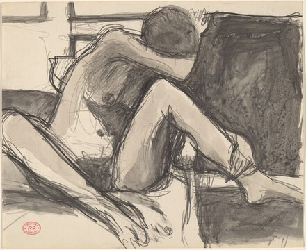 Untitled [seated nude with her head resting in her right arm]