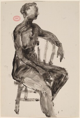 Untitled [female nude turned to the side in a Windsor chair]