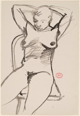 Untitled [seated female nude with arms behind head]