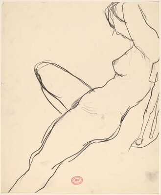 Untitled [side view of a female nude stretching back in a chair] [recto]