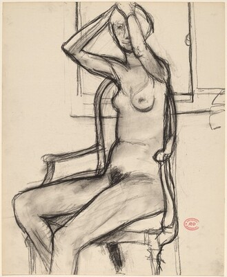 Untitled [nude in an armchair adjusting her hair]