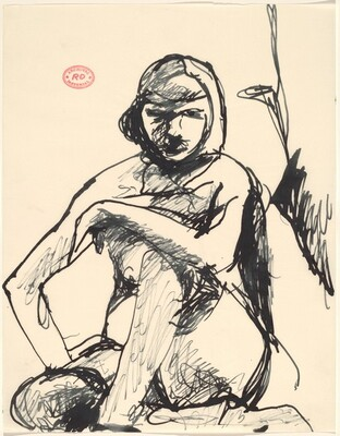 Untitled [female nude seated and looking at the viewer]
