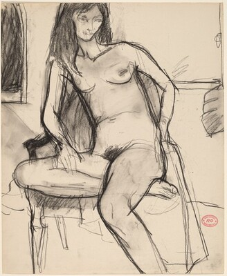 Untitled [nude in an armchair sitting on one leg]