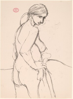 Untitled [side view of a standing female nude turning toward the viewer and looking down]