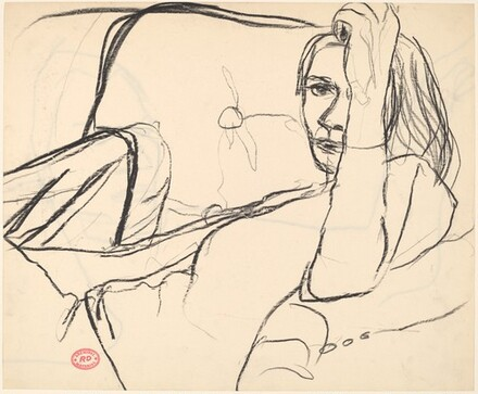 Untitled [woman seated and leaning against the arm of a chair] [recto]
