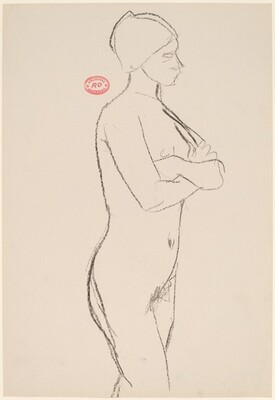 Untitled [side view of standing female nude with arms crossed]