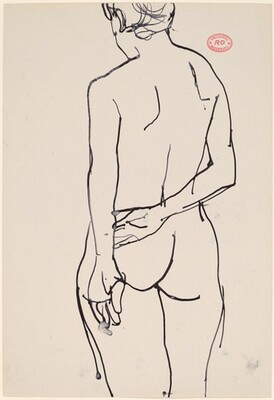 Untitled [rear view of standing female nude with arm behind her back]