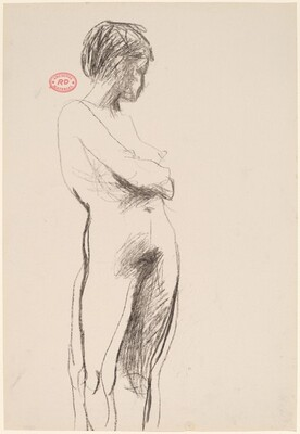 Untitled [standing female nude crossed arms and turning away]