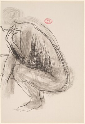 Untitled [side view of squatting female nude]