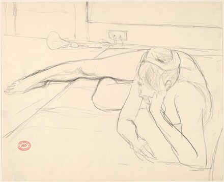 Untitled [female nude resting on floor with head on hand]