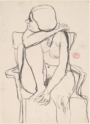 Untitled [seated female nude looking to her right]