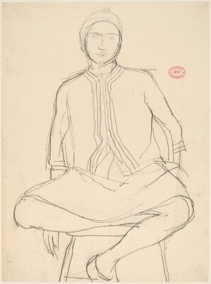 Untitled [female model in a cap seated on a stool]