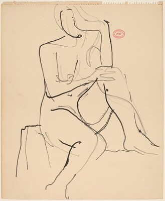 Untitled [seated female nude with left foot on stand]
