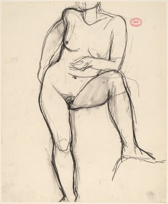 Untitled [standing female nude resting on bent left leg]