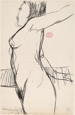 Untitled [standing female nude with arms stretched back]