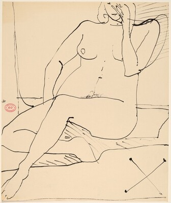 Untitled [seated nude with her left hand touching her face]