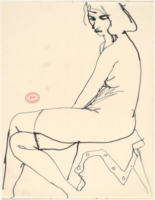 Untitled [female nude in stockings seated on draped stool]