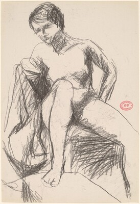 Untitled [female nude seated in a partially draped chair]