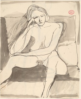 Untitled [seated female nude before a large cushion] [recto]