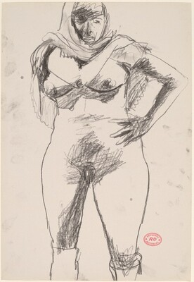 Untitled [standing nude with scarf]