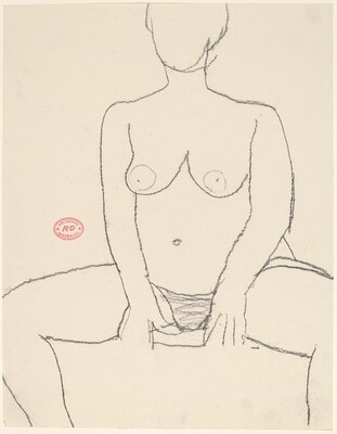 Untitled [seated nude with hands resting between her thighs]