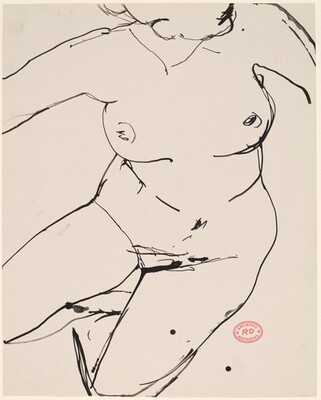 Untitled [bird's-eye view of a reclining female nude]