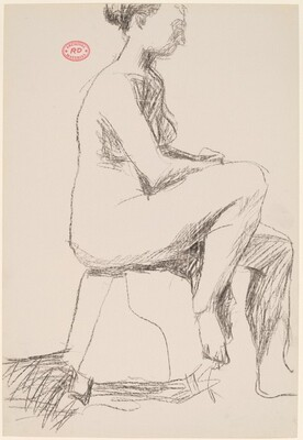 Untitled [seated female nude on a short stool]