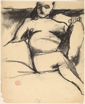 Untitled [nude seated among pillows]
