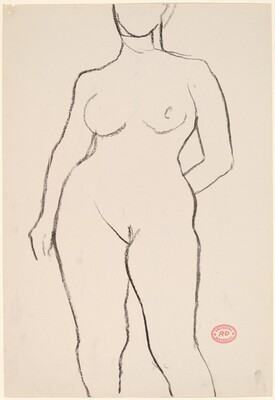 Untitled [front view of nude with left hand behind her back] [recto]