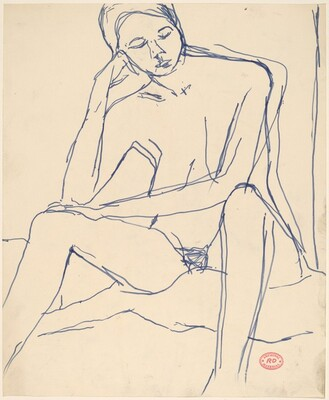Untitled [seated female nude resting her head on her right hand]
