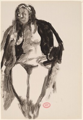 Untitled [female nude with covered shoulders]