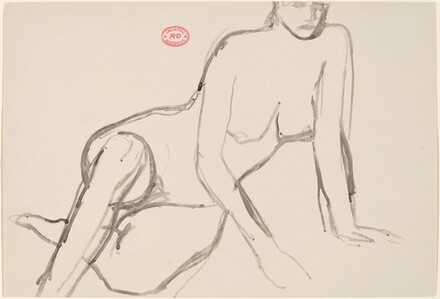 Untitled [seated nude leaning on hands]