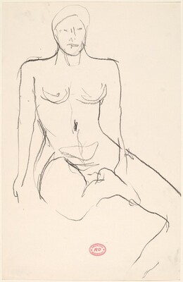 Untitled [seated female nude with right leg pulled in]